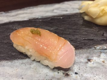 Kinmedai with yuzu salt