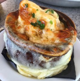 Our incentive for getting down the mountain, French Onion Soup from Ajax Tavern